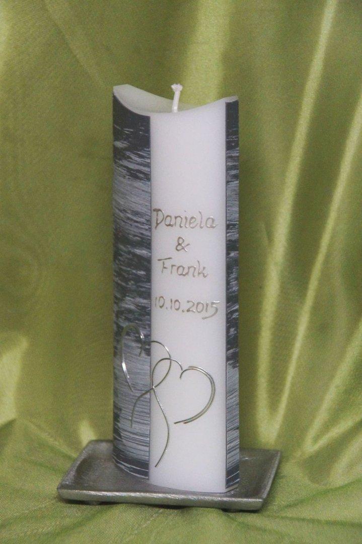Hochzeitskerze in Grau / Silber - Silkes - Kerzenladen ®